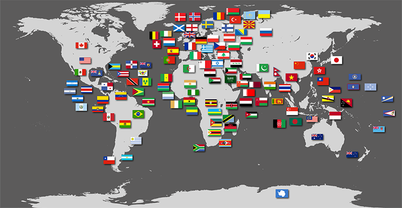 Over 100 country flags spread over the world map.